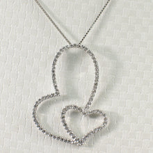 Load image into Gallery viewer, Love & Beautiful 14k Solid White Gold Heart in Heart Round Diamond Pendant