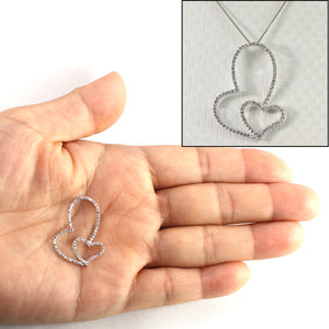 Love & Beautiful 14k Solid White Gold Heart in Heart Round Diamond Pendant