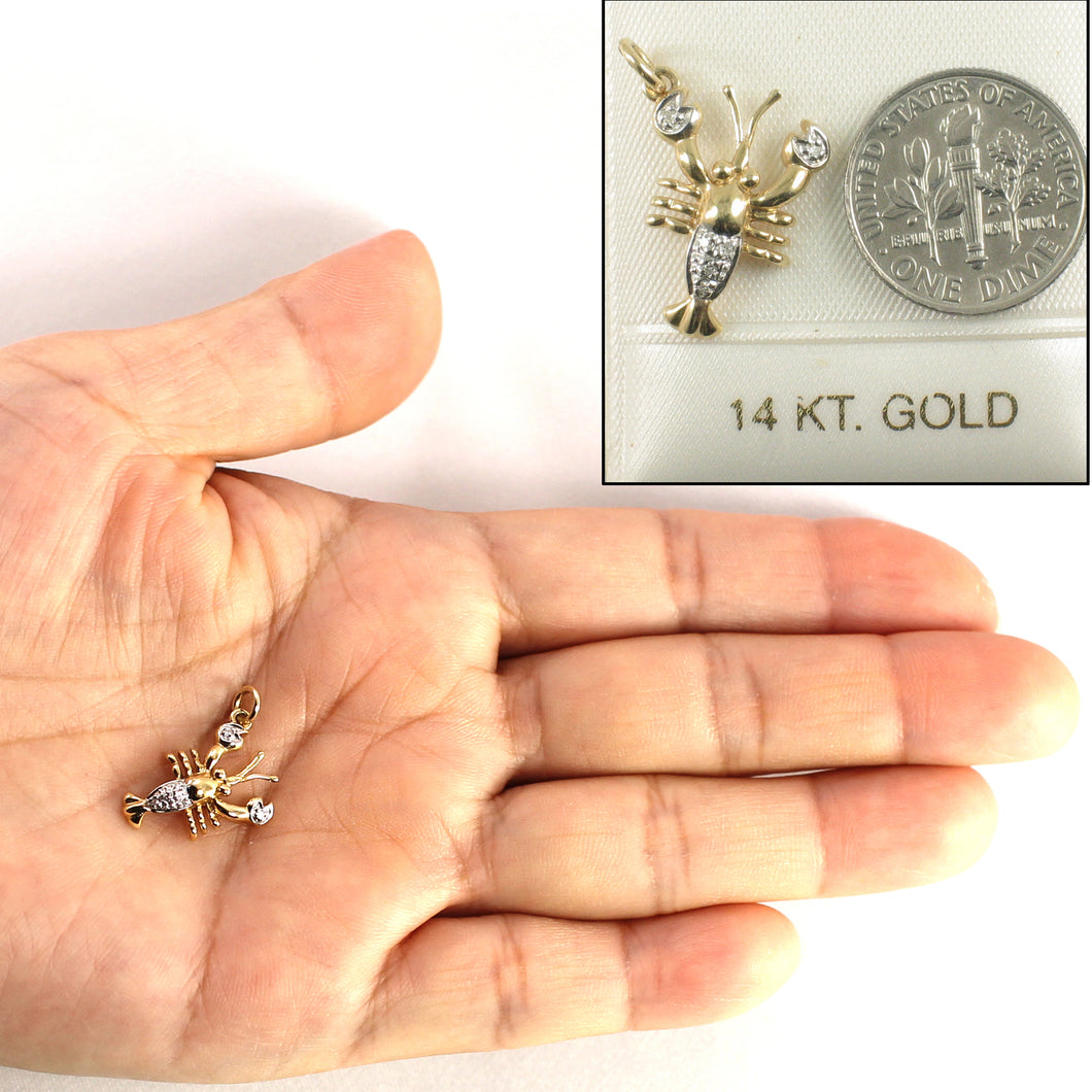 14k Solid Yellow Gold Lobster 6 Sparkling Genuine Diamond Pendant