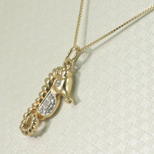 Load image into Gallery viewer, Diamond Seahorse Pendant Necklace 14k Yellow Solid Gold