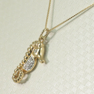 Diamond Seahorse Pendant Necklace 14k Yellow Solid Gold