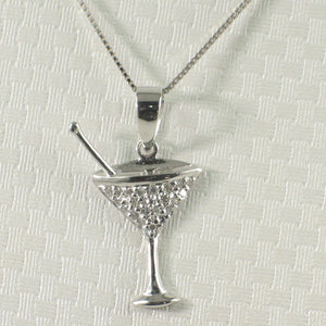 Beautiful Cocktail Cup Design 14k Solid White Gold Diamond Pendant Necklace