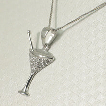 Load image into Gallery viewer, Beautiful Cocktail Cup Design 14k Solid White Gold Diamond Pendant Necklace