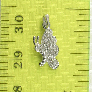 14k Solid White Gold Butterfly Design 20 Genuine Diamond Pendant