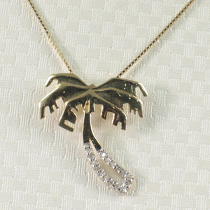 14k Solid Yellow Gold Diamond Hawaiian Tradition Design Coconut Tree Pendant
