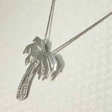 Load image into Gallery viewer, 14k White Solid Gold Diamonds Hawaiian Coconut Tree Pendant Necklace
