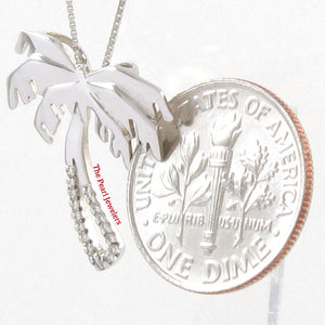 14k White Solid Gold Diamonds Hawaiian Coconut Tree Pendant Necklace
