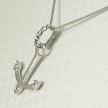 Load image into Gallery viewer, Beautiful & Unique 14K Solid White Gold Diamond Anchor Pendant Necklace