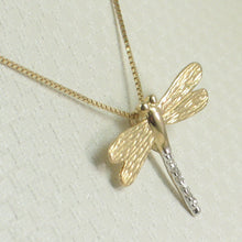 Load image into Gallery viewer, Beautiful & Unique Dragonflies 14k Yellow Gold Diamonds Pendant Charm