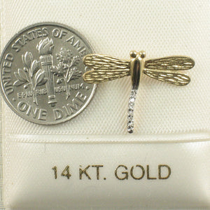 Beautiful & Unique Dragonflies 14k Yellow Gold Diamonds Pendant Charm