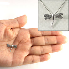 Load image into Gallery viewer, Beautiful & Unique Dragonflies 14k White Gold Diamonds Pendant Charm