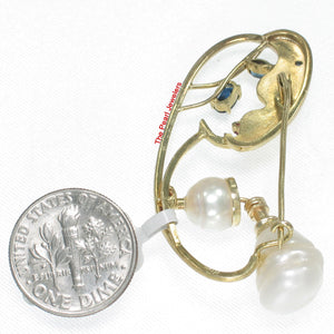 14k Solid Yellow Gold Genuine Sapphire & Baroque Pearl Handmade Brooch