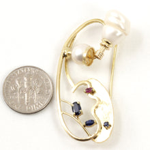 Load image into Gallery viewer, 14k Solid Yellow Gold Genuine Sapphire & Baroque Pearl Handmade Brooch