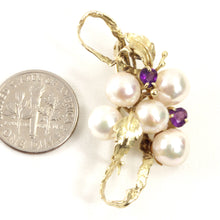 Load image into Gallery viewer, 14k Yellow Gold Genuine Amethyst & Cultured Pearl Handmade Brooch