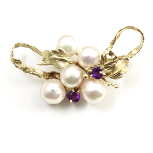 14k Yellow Gold Genuine Amethyst & Cultured Pearl Handmade Brooch