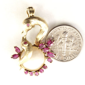 Genuine Rubies & Mabe Pearl Use as Brooch / Pendant Set In 14k Yellow Gold