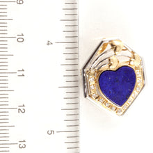 Load image into Gallery viewer, 18k Solid Two Tone Gold Genuine Lapis, Diamond Brooch / Pendant