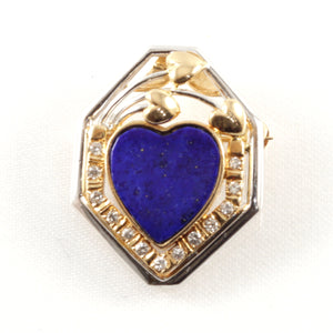 18k Solid Two Tone Gold Genuine Lapis, Diamond Brooch / Pendant