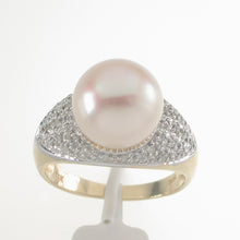 Load image into Gallery viewer, 3000132-14k-YG-AAA-Romantic-Pink-Cultured-Pearl-Diamond-Cocktail-Ring