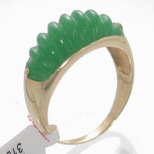 Load image into Gallery viewer, 3100053-14k-Yellow-Gold-Beautiful-Carved-Elegant-Twisted-Dome-Green-Jade-Ring