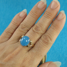 Load image into Gallery viewer, 3100384-14k-Yellow-Gold-Cabochon-Cut-Oval-Blue-Jade-Solitaire-Ring