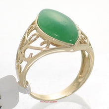 Load image into Gallery viewer, 3100393-14k-Yellow-Gold-Cabochon-Marquise-Green-Jade-Solitaire-Ring