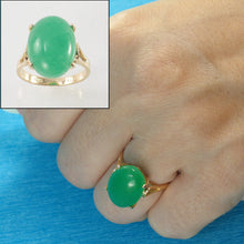 Load image into Gallery viewer, 3101083-14kt-YG-12x16mm-Cabochon-Cut-Oval-Green-Jade-Solitaire-Ring