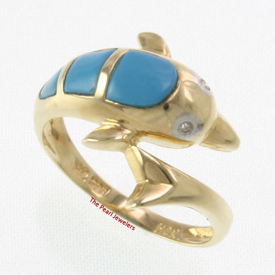 3187404-14k-YG-Diamonds-Cabochon-Cut- Turquoise-Dolphin-Band-Ring