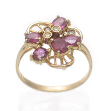 Load image into Gallery viewer, 14k Solid Yellow Gold Genuine Diamonds & Oval Ruby TCW 1.5ct Cocktail Ring