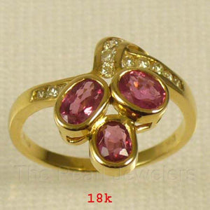 18k Solid Yellow Gold Genuine Diamonds & Oval Shaped Red Ruby Cocktail Ring
