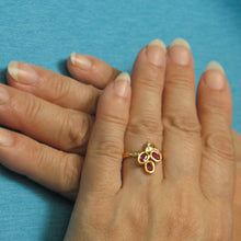 Load image into Gallery viewer, 18k Solid Yellow Gold Genuine Diamonds & Oval Shaped Red Ruby Cocktail Ring