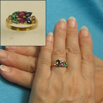 14k Yellow Gold Genuine Diamond & Marquise Red Ruby Sapphire & Emerald Ring