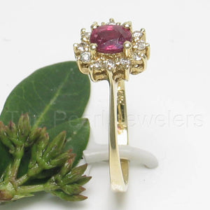 14k Yellow Solid Gold Genuine Diamond & Oval Red Ruby Solitaire Accents Ring