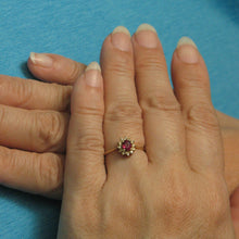 Load image into Gallery viewer, 14k Yellow Solid Gold Genuine Diamond & Oval Red Ruby Solitaire Accents Ring