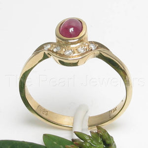 14k Yellow Solid Gold Genuine Diamonds & Cabochon Red Ruby TCW 0.57ct,