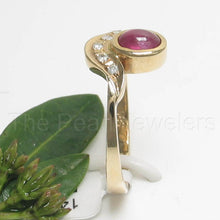 Load image into Gallery viewer, 14k Yellow Solid Gold Genuine Diamonds & Cabochon Red Ruby TCW 0.57ct,