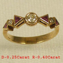 Load image into Gallery viewer, Beautiful 14k Yellow Solid Gold Diamonds &Trilliant Cut Red Ruby Band Ring