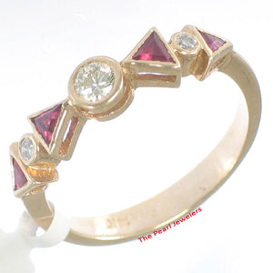 Beautiful 14k Yellow Solid Gold Diamonds &Trilliant Cut Red Ruby Band Ring