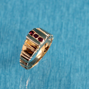 14k Solid Yellow Gold Genuine Round Cut Ruby Ring