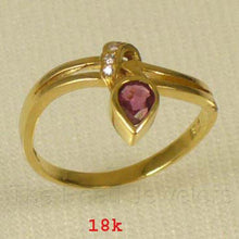Load image into Gallery viewer, 18k Solid Yellow Gold Genuine Pear Ruby & Diamonds Cocktail Ring