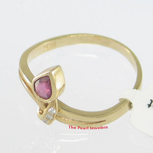 18k Solid Yellow Gold Genuine Pear Ruby & Diamonds Cocktail Ring