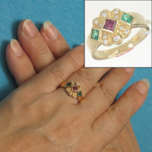 Load image into Gallery viewer, 18k Yellow Genuine; Natural Diamonds, Ruby & Emerald Bezel Setting Band Ring