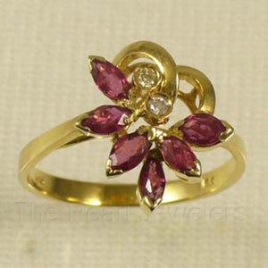 14k Yellow Solid Gold Genuine Natural Diamond & Marquise Ruby Cocktail Ring