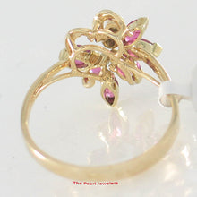 Load image into Gallery viewer, 14k Yellow Solid Gold Genuine Natural Diamond & Marquise Ruby Cocktail Ring