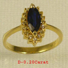 Load image into Gallery viewer, 14k Yellow Solid Gold Genuine Diamond & Blue Marquise Sapphire Cocktail Ring