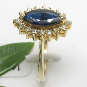 14k Yellow Solid Gold Genuine Diamond & Blue Marquise Sapphire Cocktail Ring