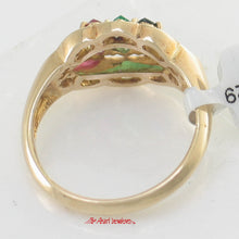 Load image into Gallery viewer, 14k Yellow Gold Natural Diamond, Oval Ruby, Sapphire, Emerald Cocktail Ring