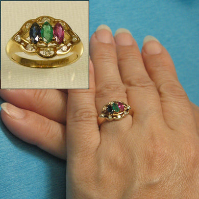 14k Yellow Gold Natural Diamond, Oval Ruby, Sapphire, Emerald Cocktail Ring