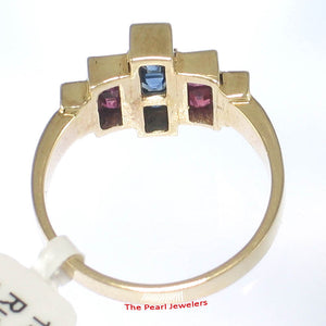 14k Solid Yellow Gold Genuine Diamond, Square Sapphire & Ruby Band Ring