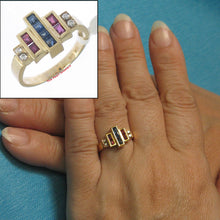 Load image into Gallery viewer, 14k Solid Yellow Gold Genuine Diamond, Square Sapphire & Ruby Band Ring